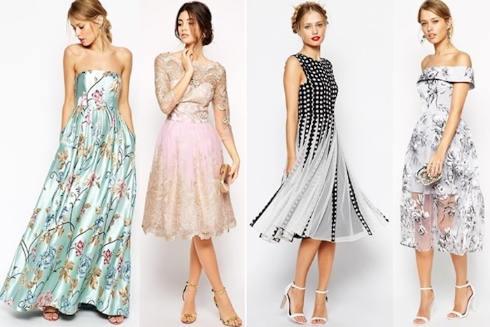 polka dot black and white midi, pink and beige lace knee-length dress, embroidered silky strapless, pale blue gown, grey embroidered floral mesh dress