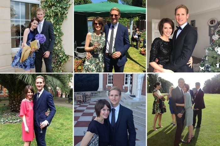 collage of photos, featuring the same couple, at different formal events, black tie attire for men, the woman is wearing various dresses, white the man is always in a dark suit and tie