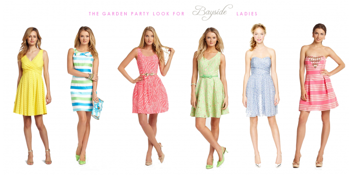 casual dress code, six different summer dresses, in yellow or coral pink, pale green or blue, striped or featuring different prints