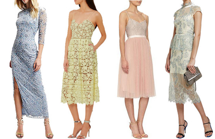 shimmering blue maxi dress, yellow lace midi, ballerina-like tulle pink knee-length dress, embroidered midi gown in white and gray