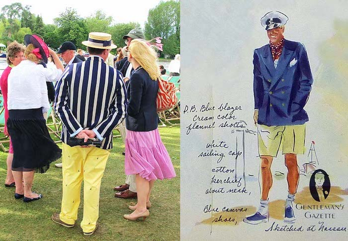drawing of a sea captain, wearing yellow shorts, dark blue blazer, and a captain's hat, next image shows man in striped, blue and white blazer, yellow trousers and straw hat