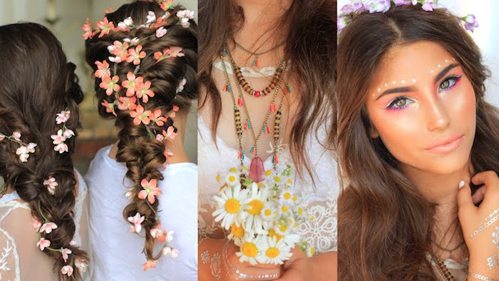 braided brunette hair, decorated with flowers, boho clothes and accessories, cute makeup looks, with pink and silver eyeshadow, bronze highlighter and white face paint