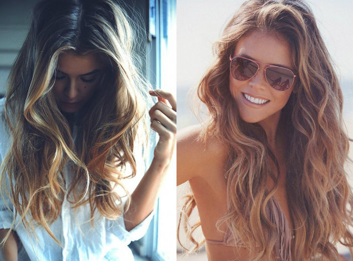 sunglasses on smiling woman, wearing a bikini top, with messy long, medium brown hair, with blonde highlights, styled in beach waves, next image shows girl with similar hair, wearing white shirt