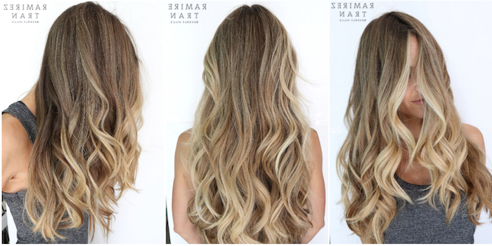 three images of long, curled light brunette hair, with ash blonde streaks, worn by young woman in grey tank top, brown hair with blonde highlights, seen from three angles