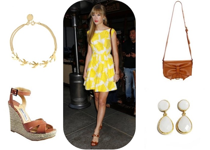 tea dress in white and yellow, with floral pattern, worn by taylor swift, casual dress code, brown leather wedges, necklace and earrings, brown shoulder bag