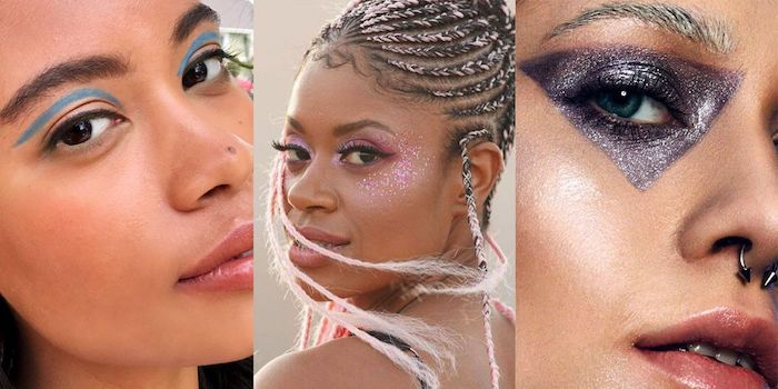 different makeup ideas, on three women, blue eyeshadow and black eyeliner, lots of pink glitter, purple glitter triangle eye make up