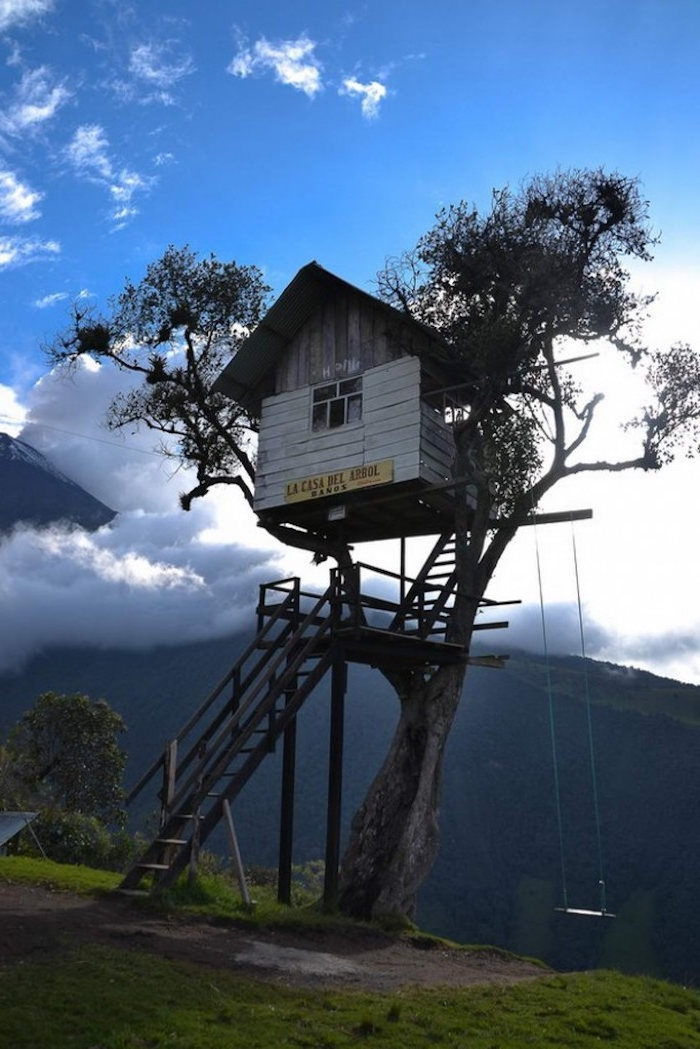 swing hanging from the branches of a tall tree, with a small wooden treehouse, with a ladder, clouds and a mountain view