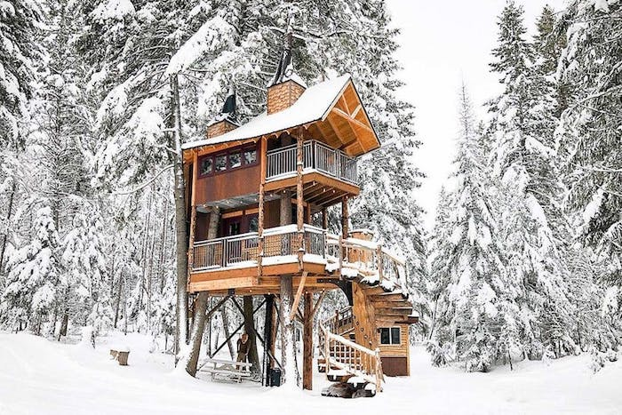 wooden house with two stories, built above the ground, on several large trees, winding wooden stairs, snowy fir forest