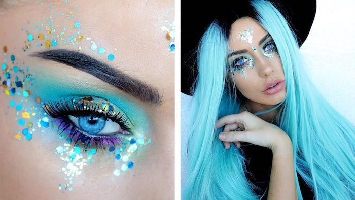 icy blue eyes, eyelids covered with yellow, silver and blue glitter, and light blue and purple eyeshadow, unicorn makeup, girl with long light blue hair, and black roots, wearing a glitter decoration on her forehead