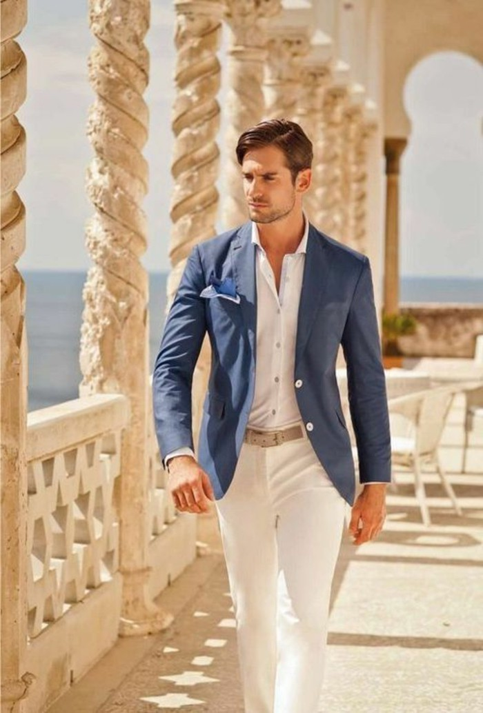 linen blazer in blue, worn over white shirt, and white trousers, with a beige belt, what is cocktail attire for men