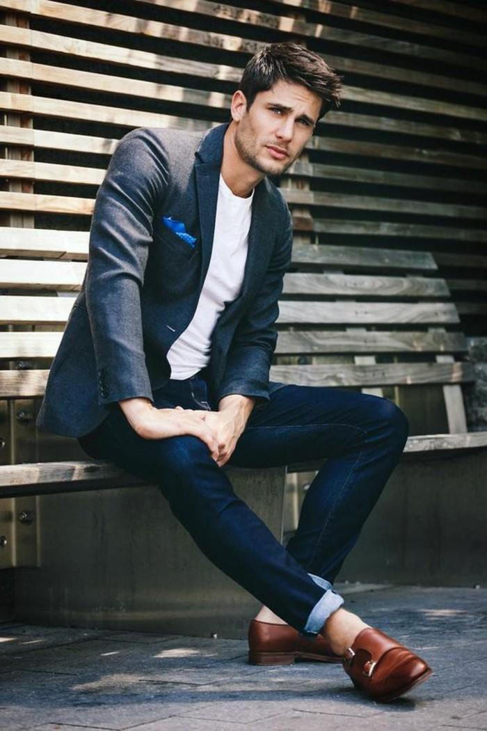 jeans in dark blue, worn with white t-shirt, and dark bluish-grey blazer, with blue pocket handkerchief, what is cocktail attire for men, brunette man wearing brown leather shoes