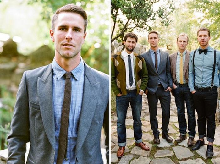 denim shirt worn with a grey woolen blazer, and dark grey necktie, by blonde man, semi formal dress code, next photo shows four men in similar attire
