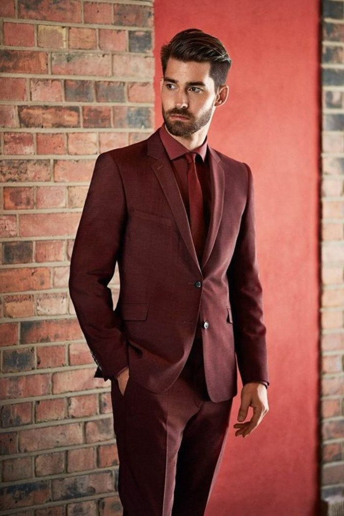 oxblood two piece suit, with shirt and tie in the same color, black tie optional wedding, young man with short mustache and beard
