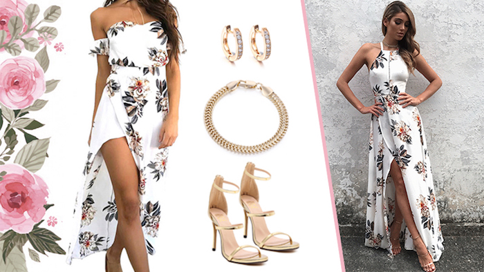 asymmetrical wrap midi dress, with floral print, in two different variations, halter neck and cold shoulder sleeves, semi formal dress code, shoes and jewelry suggestions