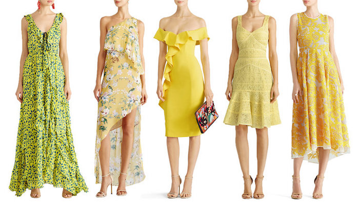 five yellow dresses, in different styles and lengths, what is semi formal attire, maxi boho gown with green pattern, asymmetrical floral midi dress