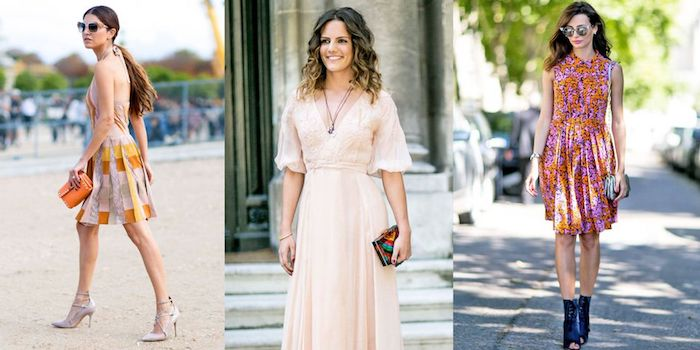 warm weather outfits, multicolored knee length dresses, pale powder pink floaty gown, what is semi formal attire, sunglasses and accessories