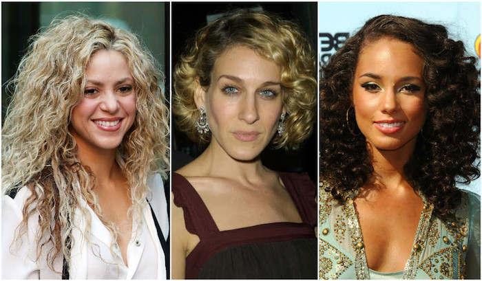 sarah jessica parker, shakira and alicia keys, all with curly hair, styled in different ways, messy curls and a bob, shoulder length curly hair with side part