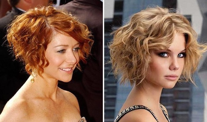 jazz age inspired curly hairdos, short ginger bob with side part, worn by alyson hannigan, and blonde tousled bob, worn by young woman