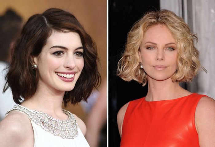 soft brunette wavy bob, with deep side part, on smiling anne hathaway, in embellished white top, easy short hairstyles, charlize theron with a curled bob, and middle parting