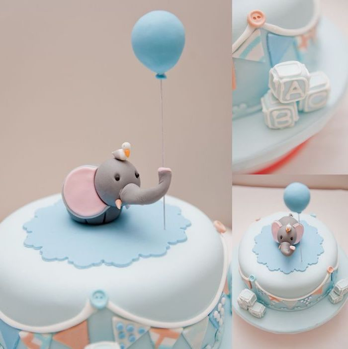three images showing a light blue cake, decorated with pale fondant shapes, and topped with a little grey elephant figurine, holding a blue balloon, elephant baby shower cake