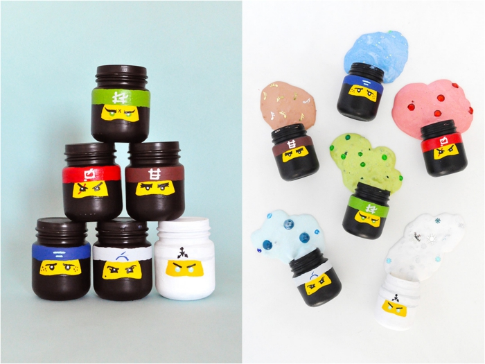 lego ninjago inspired slime pots, six small jars, painted in black and white, and decorated with different colors, stacked into a pyramid, how to make slime with borax, next image shows different slime, seeping from each jar