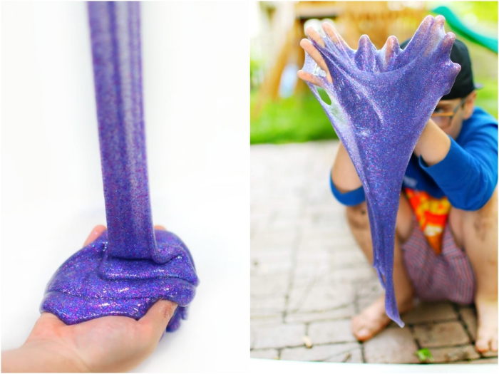 how to make slime, sparkling shiny goo in purple, with pink and blue glitter, being poured on a hand, and being played with by a young boy