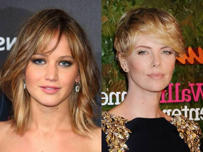 actresses wearing short, and medium length hairstyles for thin hair, jennifer lawrence with messy long bob, and side part, and charlize theron, with pixie cut, and textured side bangs