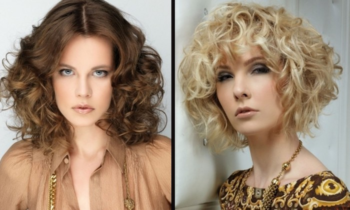 retro-style chocolate brown long bob, with middle part, and light blonde, messy short curly bob, with curly bangs, worn by two women