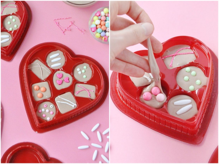 valentine's day gift, pale beige inedible chocolates, made from slime, slime recipe with borax, decorated with beads in different shapes and colors