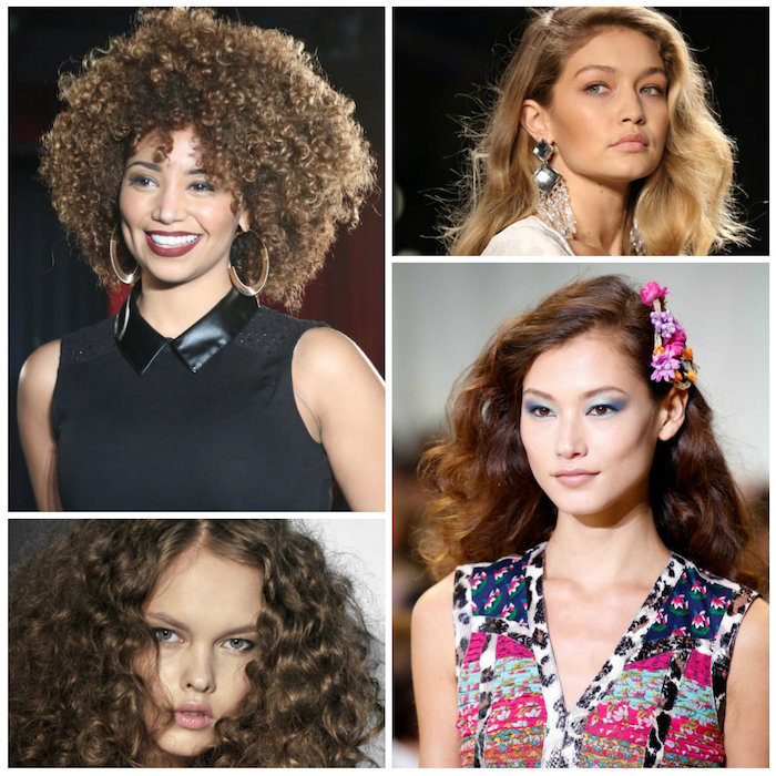 brunette and blonde curly haircuts, afro and natural curls, loose waves with side part, and flower decorations, worn by four different women