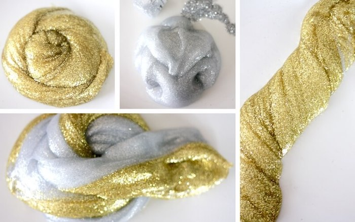 four images showing silver, and gold slime without borax, separated and twisted together, in different shapes, metallic with added glitter