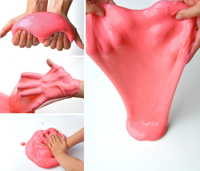 kneading and stretching, pressing and playing, with coral pink slime, how to make slime with shaving cream, two hands and a white surface