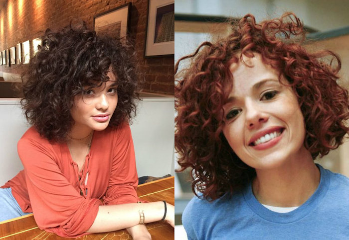brick red blouse, and blue jumper, worn by two women, with dark brunette and red, naturally curly hair, in small ringlets
