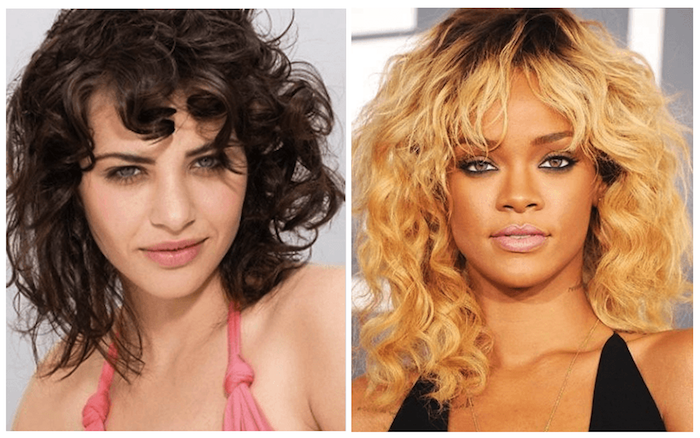 rihanna wearing dyed blonde, curly hair with bangs, and dark brunette roots, next image shows pale, brunette woman with a similar do