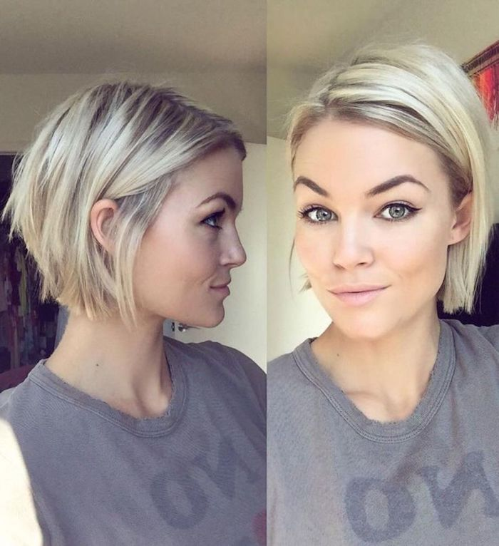 tucked behind the ear, short sassy haircuts, smiling young woman, with platinum blonde hair, and dark roots, wearing a grey t-shirt