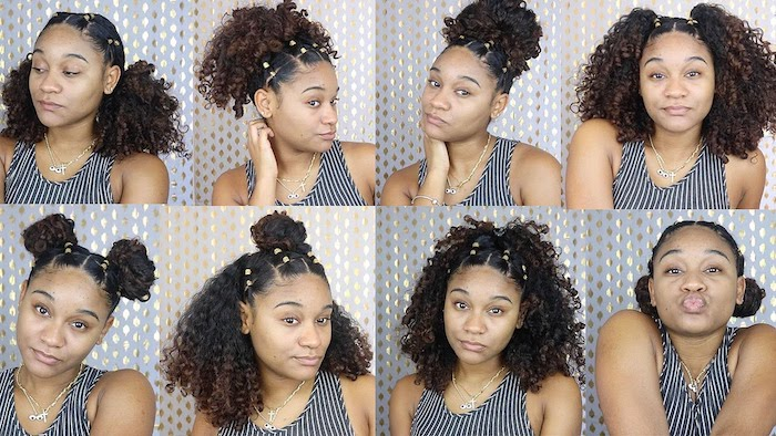 young black woman, trying out eight different hairstyles, for afro hair, high and low buns and pigtails, top knots and half knots