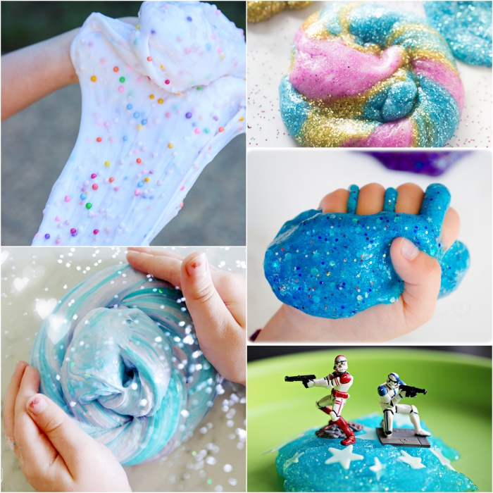 different kinds of slime, textured pink slime with beads, elmer's glue slime, unicorn glitter slime, blue mermaid slime, turquoise slime with stars and toys