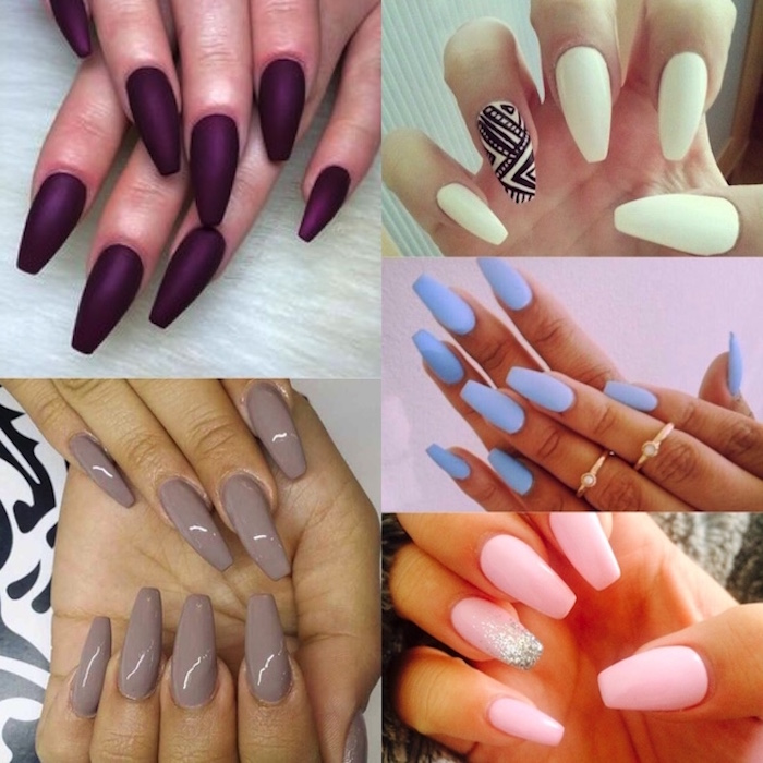 collage showing five different styles of long coffin nails, dark matte purple, glossy beige and white with a black detail, baby blue and baby pink, with silver glitter