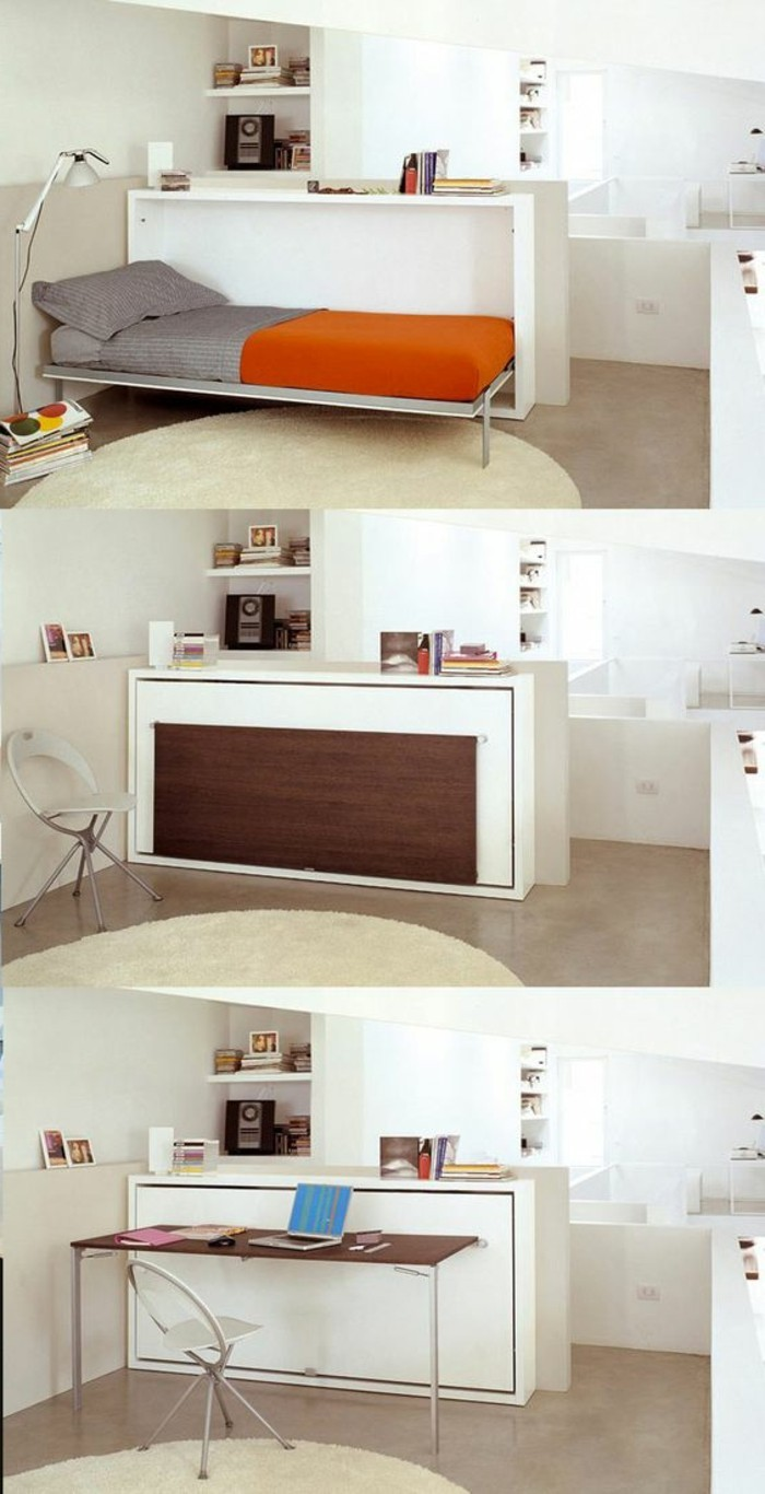 retractable bed in grey and orange, transformed into a table, in three steps, bright room wth beige floor, and a round cream rug