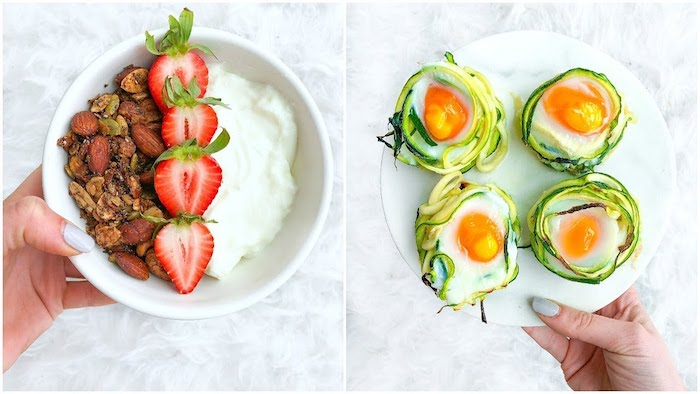 yoghurt in a white bowl, garnished with halved strawberries, and various kinds of nuts, held by a female hand, best breakfast for weight loss, next image shows, hand holding plate with four cooked eggs, garnished with green veggies