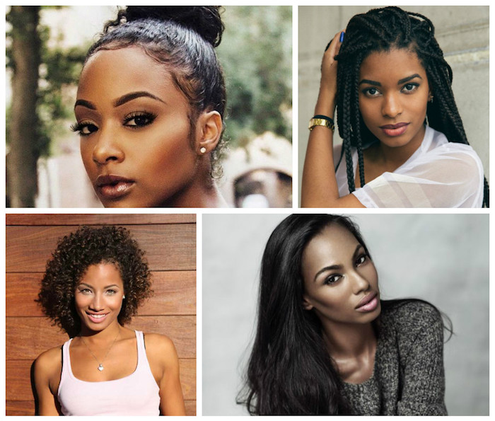 braids and a top knot, natural afro and smooth, straightened long hair, four suggestions for styling afro hair, brunette and black