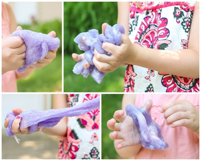 kids in pink clothes, playing with pale violet goo, decorated with glitter, how to make slime, stretchy and sticky moulding clay