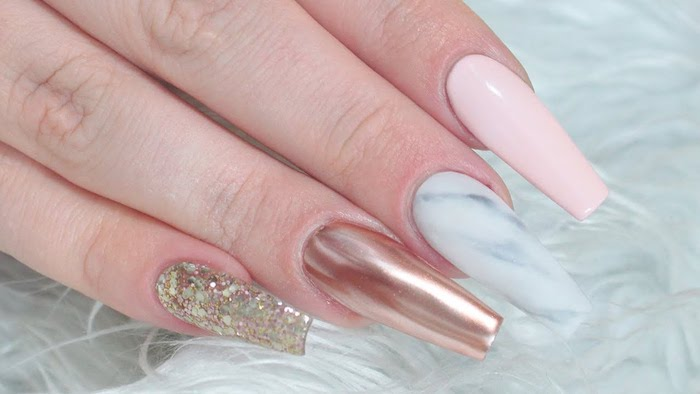 Rose Gold Long Coffin Acrylic Nails Designs Nail And Manicure Trends