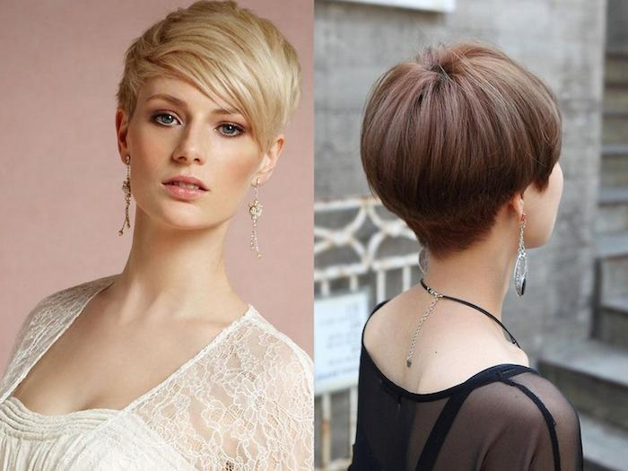 pixie cuts in blonde and brunette, hairstyles for fine thin hair, one seen from the front, with long layered side bangs, and one seen from the back, with a bowl-like shape