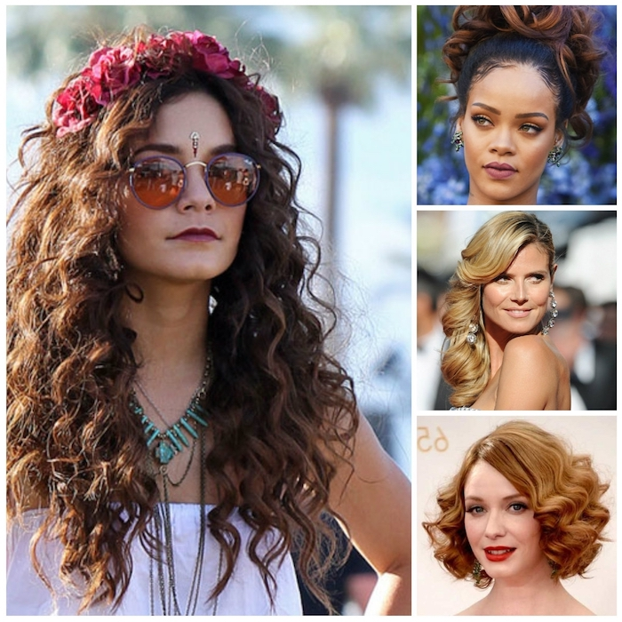 celebrities with curly hair, cute easy hairstyles, long brunette curls, worn with a pink flower crown, hollywood style waves, classic retro bob, elaborate brunette bun