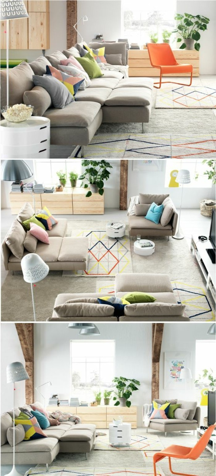 how to decorate a living room, three images showing a large beige sofa, divided into three or two separate settees, modern orange chair