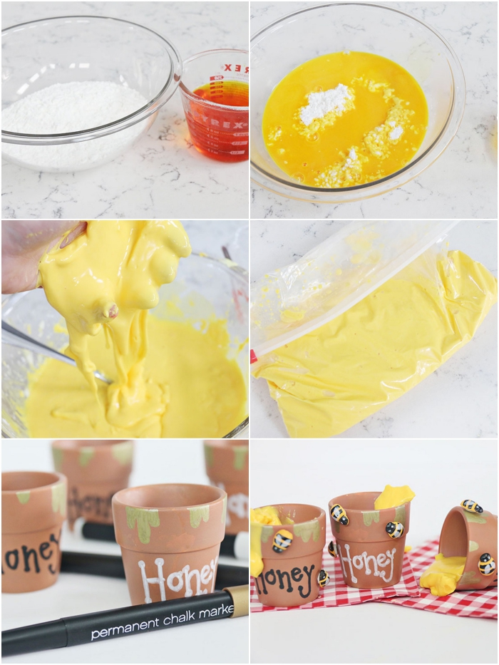 gooey yellow slime, made in four easy steps, and poured into several hand-painted, ceramic pots with the words honey written on them, how to make slime with borax