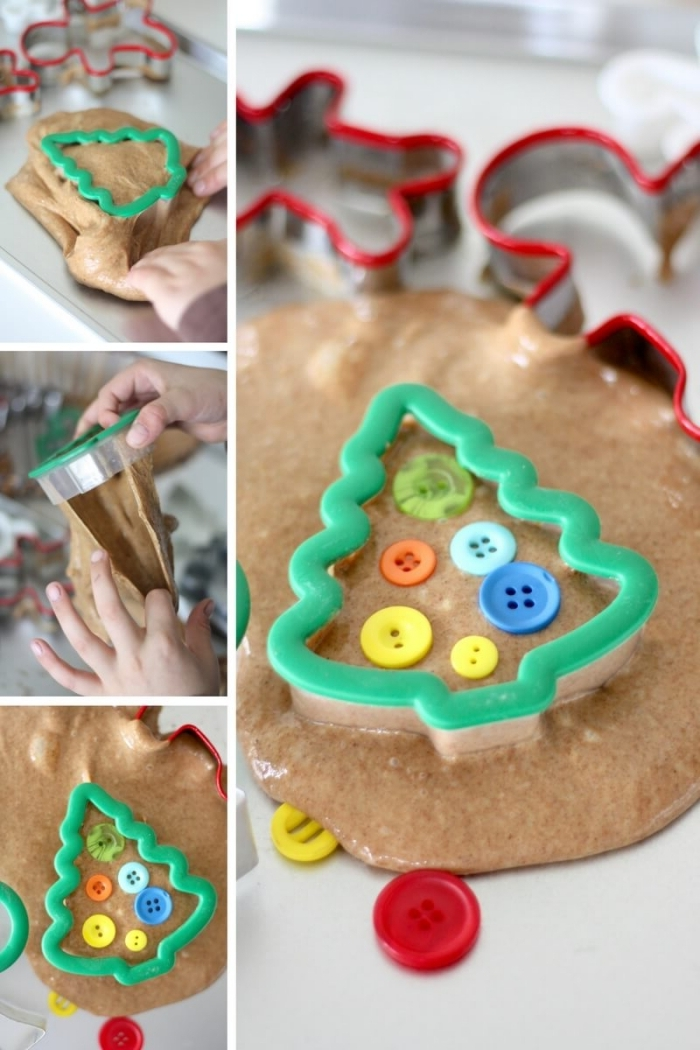 christmas tree-shaped cookie cutter, with green plastic edges, being pressed onto beige elmer's glue slime, decorated with colorful plastic buttons