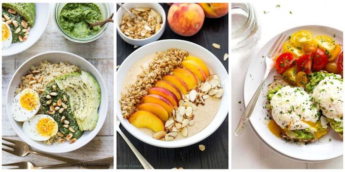suggestions for healthy low calorie breakfast, avocado and boiled egg with nuts, peaches with almonds and granola on yoghurt, poached eggs with cherry tomatoes