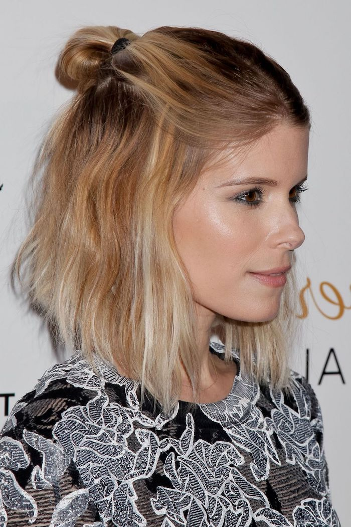 short to medium length haircuts for thin hair 1001 ideas for stunning medium and hairstyles for 4715 | kate mara with bldone hair dark at the roots and lighter towards the tips wearing a half up hairstyle and a black and white embroidered top medium length hairstyles for thin hair